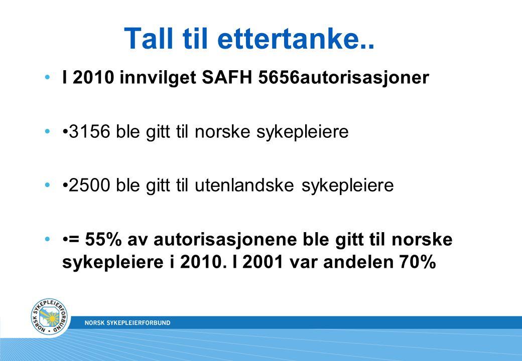 Tall til ettertanke.. I 2010 innvilget SAFH 5656autorisasjoner 3156 ble gitt til norske sykepleiere 2500 ble gitt til utenlandske sykepleiere = 55% av