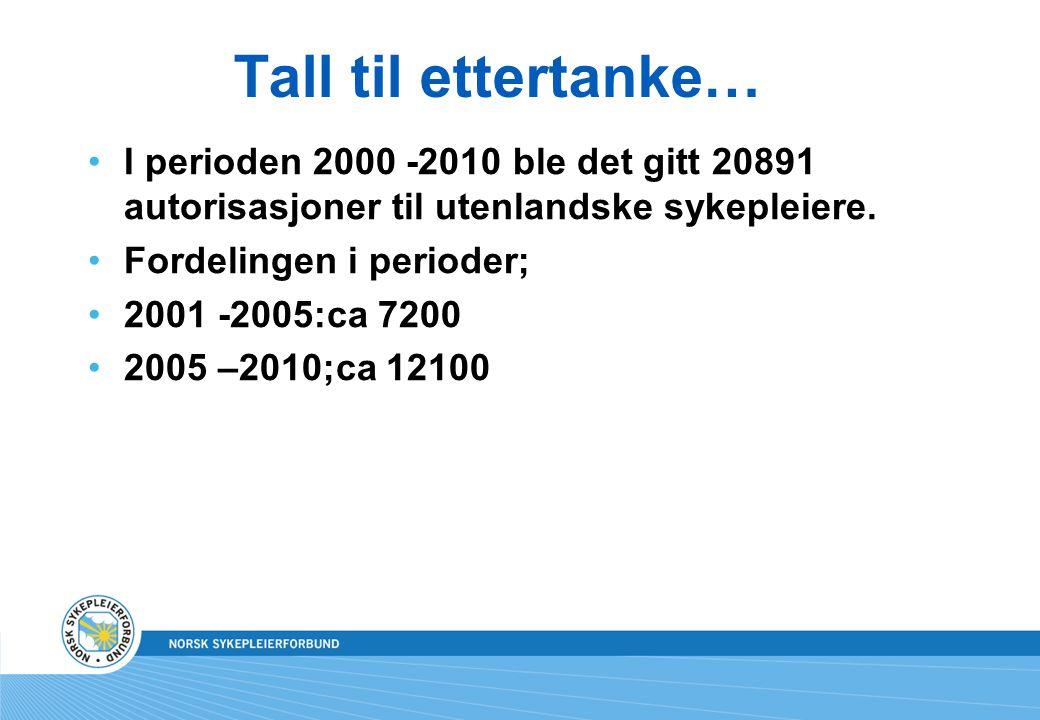Tall til ettertanke… I perioden 2000 -2010 ble det gitt 20891 autorisasjoner til utenlandske sykepleiere. Fordelingen i perioder; 2001 -2005:ca 7200 2