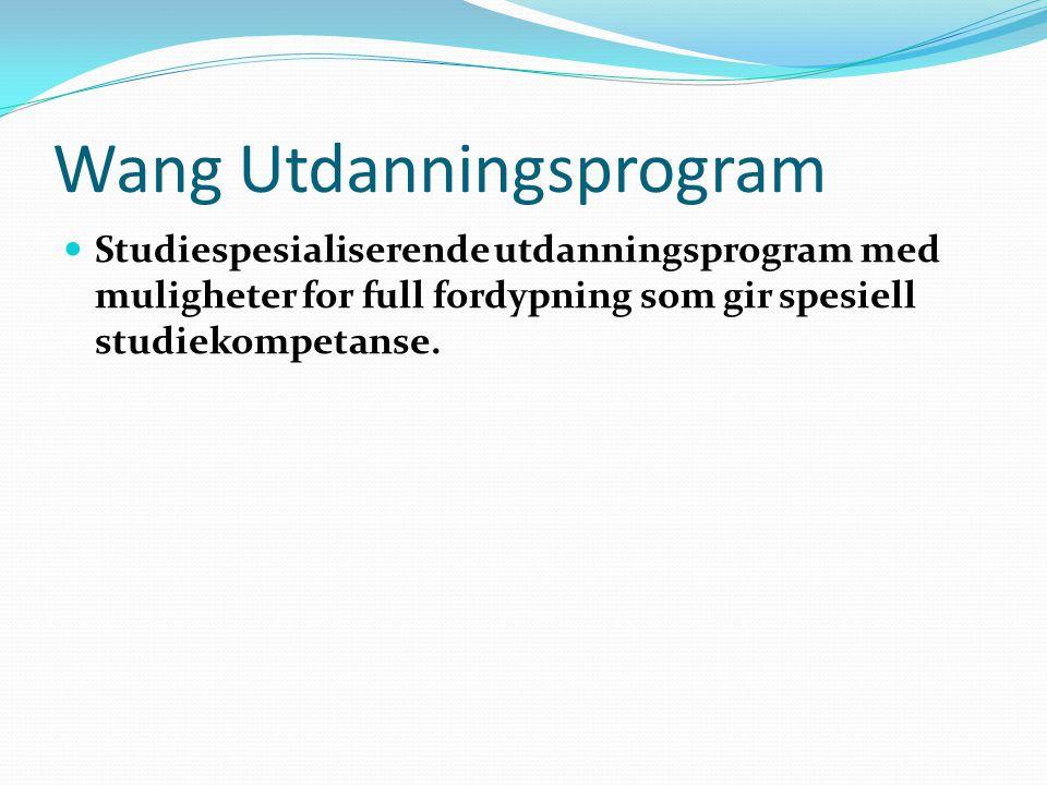 Wang Utdanningsprogram Studiespesialiserende utdanningsprogram med muligheter for full fordypning som gir spesiell studiekompetanse.