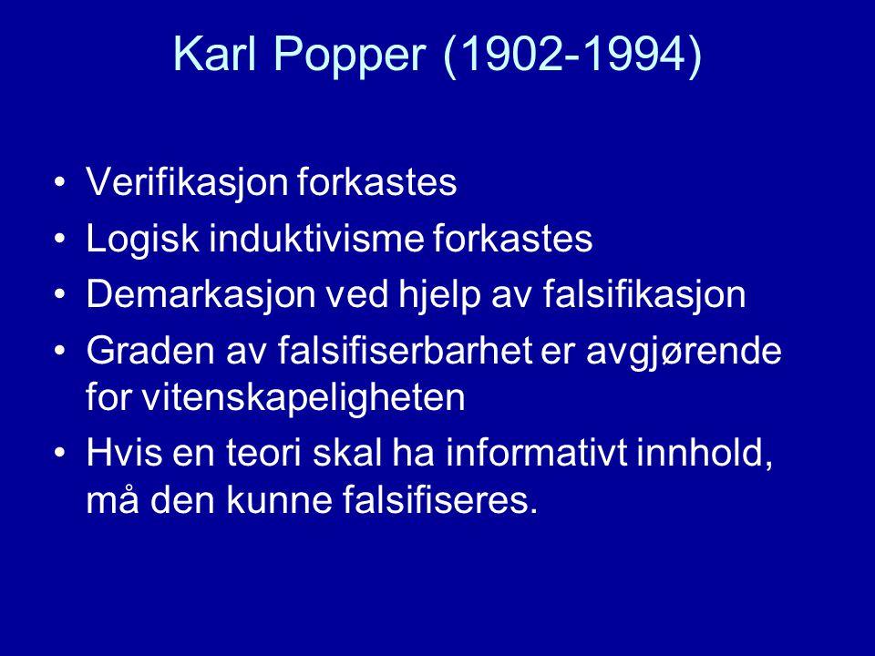 Karl Popper (1902-1994) Verifikasjon forkastes Logisk induktivisme forkastes Demarkasjon ved hjelp av falsifikasjon Graden av falsifiserbarhet er avgjørende for vitenskapeligheten Hvis en teori skal ha informativt innhold, må den kunne falsifiseres.