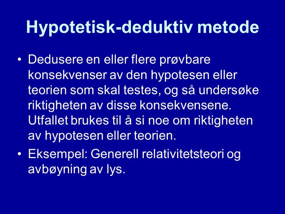 Hypotetisk-deduktiv metode Dedusere en eller flere prøvbare konsekvenser av den hypotesen eller teorien som skal testes, og så undersøke riktigheten av disse konsekvensene.