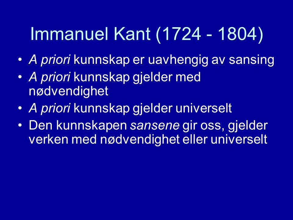 Immanuel Kant (1724 - 1804) A priori kunnskap er uavhengig av sansing A priori kunnskap gjelder med nødvendighet A priori kunnskap gjelder universelt Den kunnskapen sansene gir oss, gjelder verken med nødvendighet eller universelt