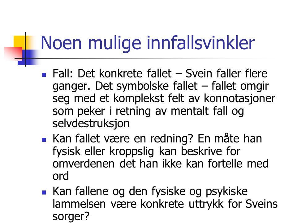 Noen mulige innfallsvinkler Fall: Det konkrete fallet – Svein faller flere ganger. Det symbolske fallet – fallet omgir seg med et komplekst felt av ko