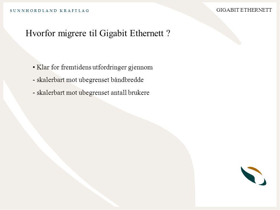 S U N N H O R D L A N D K R A F T L A G GIGABIT ETHERNETT Hvorfor migrere til Gigabit Ethernett .