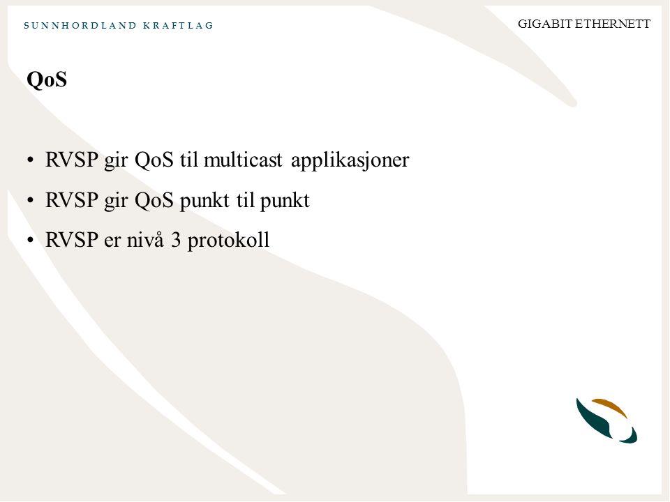 S U N N H O R D L A N D K R A F T L A G GIGABIT ETHERNETT QoS RVSP gir QoS til multicast applikasjoner RVSP gir QoS punkt til punkt RVSP er nivå 3 protokoll