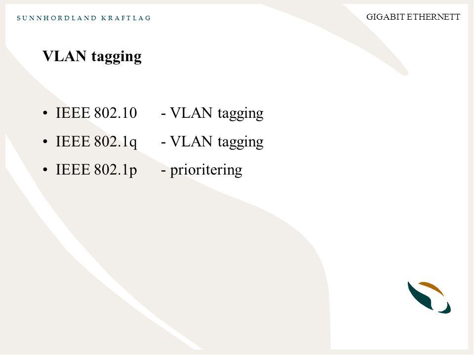 S U N N H O R D L A N D K R A F T L A G GIGABIT ETHERNETT VLAN tagging IEEE 802.10- VLAN tagging IEEE 802.1q- VLAN tagging IEEE 802.1p- prioritering