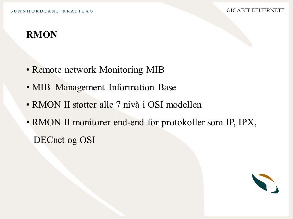 S U N N H O R D L A N D K R A F T L A G GIGABIT ETHERNETT RMON Remote network Monitoring MIB MIB Management Information Base RMON II støtter alle 7 nivå i OSI modellen RMON II monitorer end-end for protokoller som IP, IPX, DECnet og OSI
