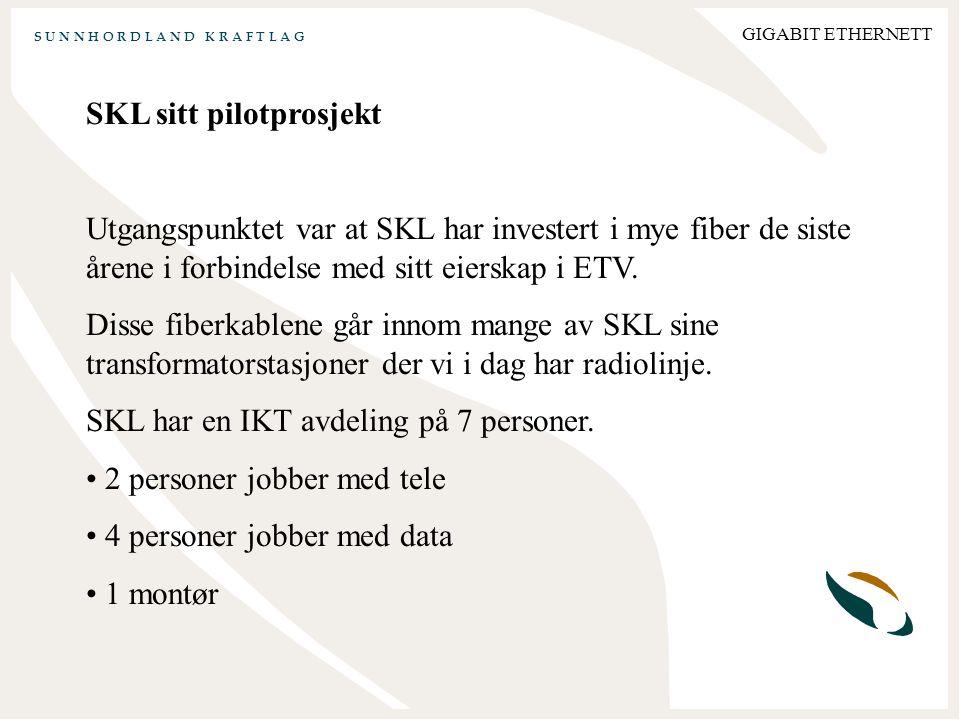 S U N N H O R D L A N D K R A F T L A G GIGABIT ETHERNETT SKL sitt pilotprosjekt Utgangspunktet var at SKL har investert i mye fiber de siste årene i forbindelse med sitt eierskap i ETV.