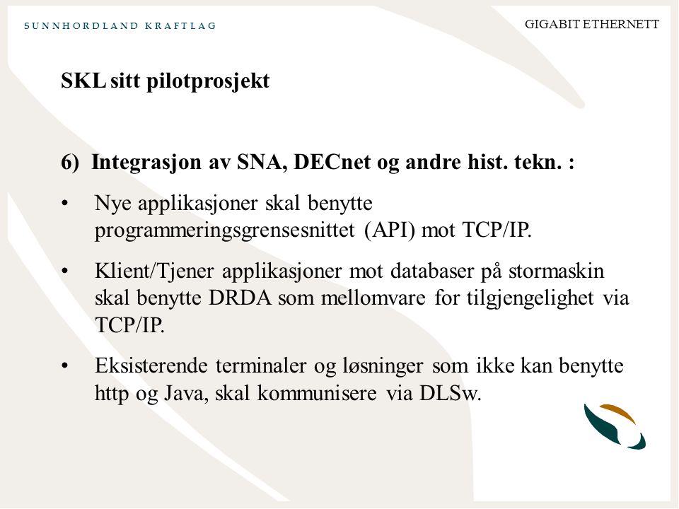 S U N N H O R D L A N D K R A F T L A G GIGABIT ETHERNETT SKL sitt pilotprosjekt 6) Integrasjon av SNA, DECnet og andre hist.