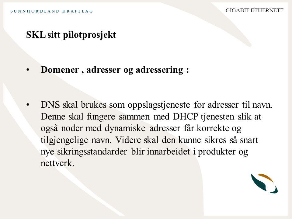 S U N N H O R D L A N D K R A F T L A G GIGABIT ETHERNETT SKL sitt pilotprosjekt Domener, adresser og adressering : DNS skal brukes som oppslagstjeneste for adresser til navn.