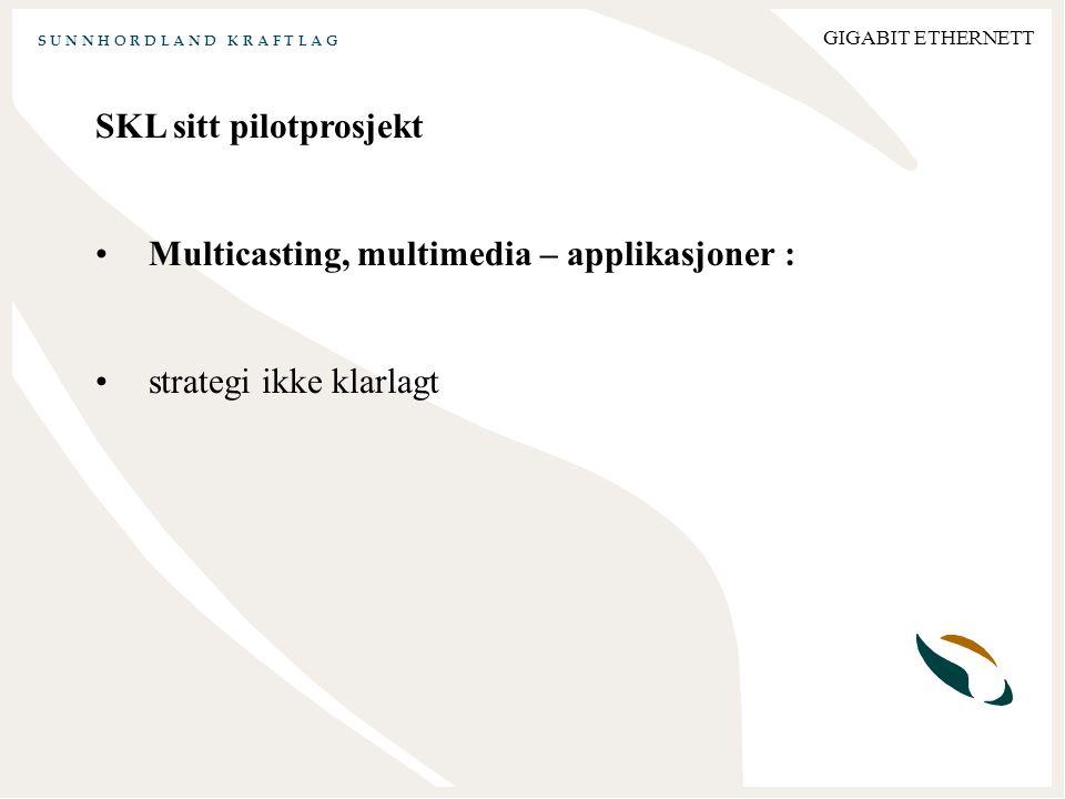 S U N N H O R D L A N D K R A F T L A G GIGABIT ETHERNETT SKL sitt pilotprosjekt Multicasting, multimedia – applikasjoner : strategi ikke klarlagt