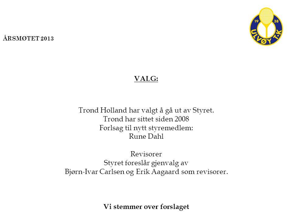 VALG: Trond Holland har valgt å gå ut av Styret. Trond har sittet siden 2008 Forlsag til nytt styremedlem: Rune Dahl Revisorer Styret foreslår gjenval