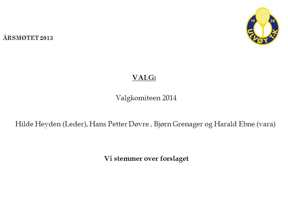 VALG: Valgkomiteen 2014 Hilde Heyden (Leder), Hans Petter Døvre, Bjørn Grenager og Harald Ebne (vara) Vi stemmer over forslaget ÅRSMØTET 2013
