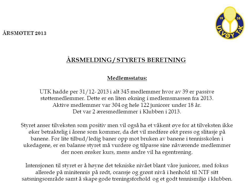 Medlemsstatus: UTK hadde per 31/12- 2013 i alt 345 medlemmer hvor av 39 er passive støttemedlemmer.