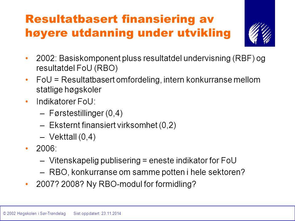 © 2002 Høgskolen i Sør-Trøndelag Sist oppdatert: 23.11.2014 Resultatbasert finansiering av høyere utdanning under utvikling 2002: Basiskomponent pluss