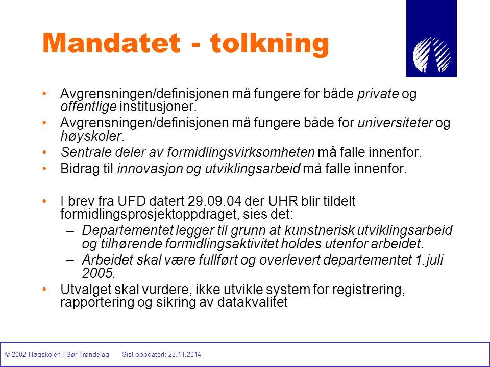© 2002 Høgskolen i Sør-Trøndelag Sist oppdatert: 23.11.2014 Mandatet - tolkning Avgrensningen/definisjonen må fungere for både private og offentlige i