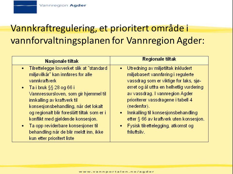 Vannkraftregulering, et prioritert område i vannforvaltningsplanen for Vannregion Agder: