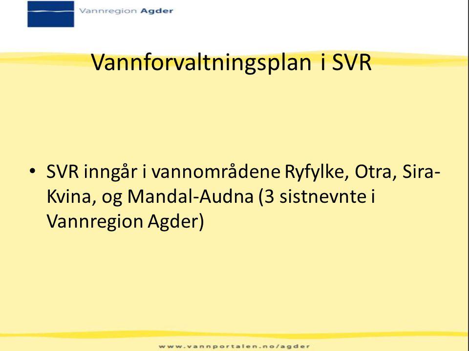 Vannforvaltningsplan i SVR SVR inngår i vannområdene Ryfylke, Otra, Sira- Kvina, og Mandal-Audna (3 sistnevnte i Vannregion Agder)
