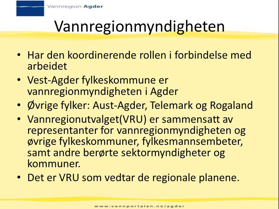 Vannregionmyndigheten Har den koordinerende rollen i forbindelse med arbeidet Vest-Agder fylkeskommune er vannregionmyndigheten i Agder Øvrige fylker: