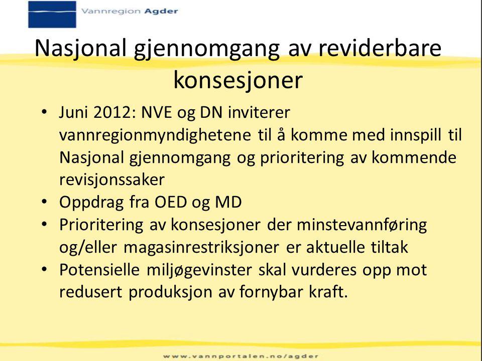 Nasjonal gjennomgang av reviderbare konsesjoner Juni 2012: NVE og DN inviterer vannregionmyndighetene til å komme med innspill til Nasjonal gjennomgan