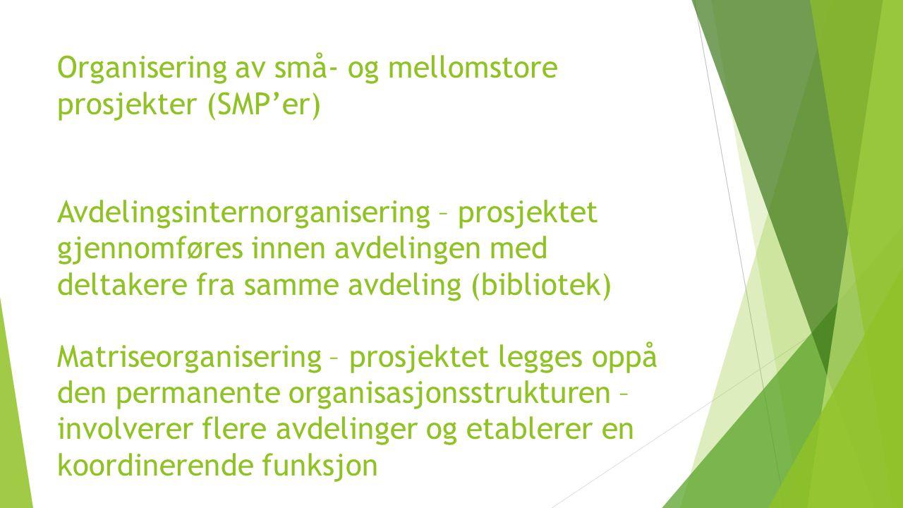 Organisering av små- og mellomstore prosjekter (SMP'er) Avdelingsinternorganisering – prosjektet gjennomføres innen avdelingen med deltakere fra samme avdeling (bibliotek) Matriseorganisering – prosjektet legges oppå den permanente organisasjonsstrukturen – involverer flere avdelinger og etablerer en koordinerende funksjon