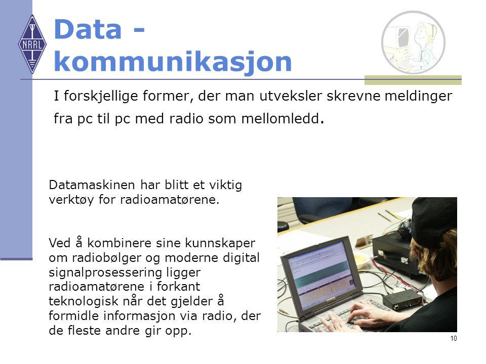 10 Data - kommunikasjon I forskjellige former, der man utveksler skrevne meldinger fra pc til pc med radio som mellomledd. Datamaskinen har blitt et v