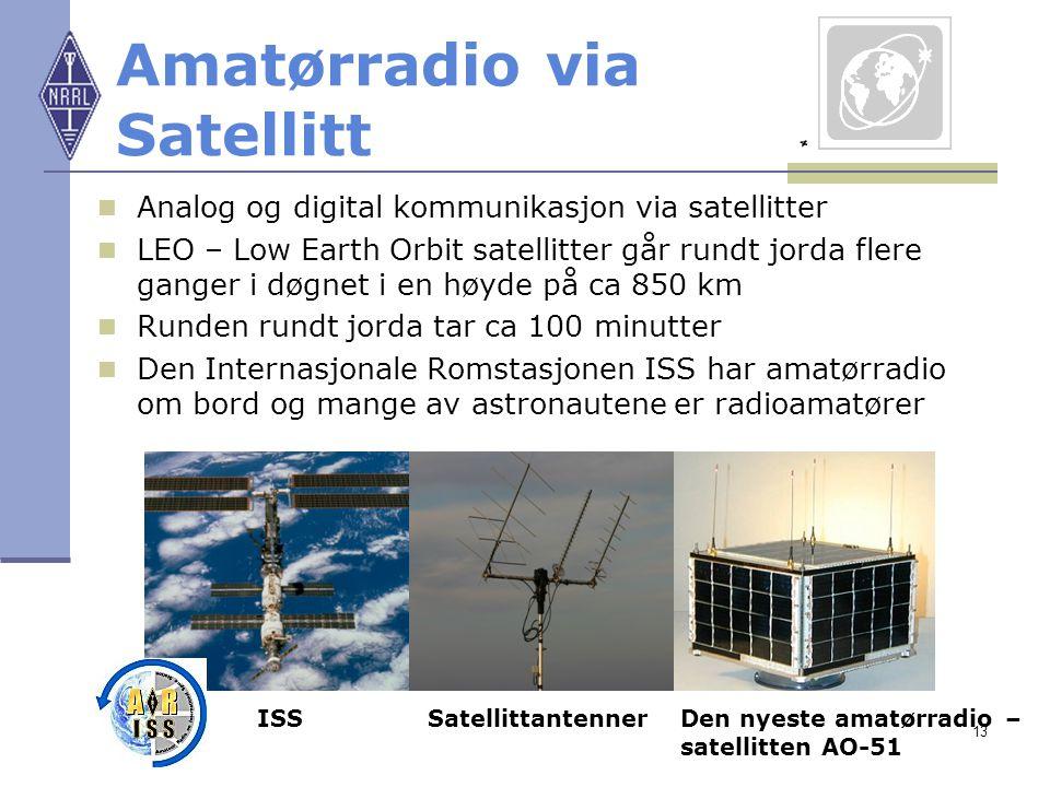 13 Amatørradio via Satellitt Analog og digital kommunikasjon via satellitter LEO – Low Earth Orbit satellitter går rundt jorda flere ganger i døgnet i