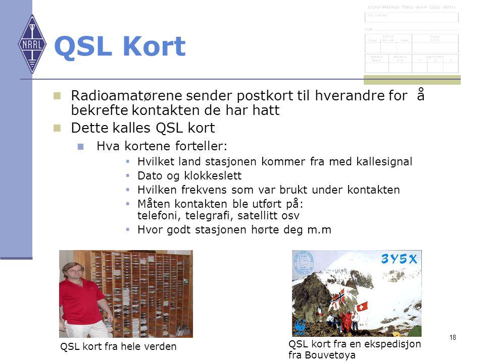 18 QSL Kort Radioamatørene sender postkort til hverandre for å bekrefte kontakten de har hatt Dette kalles QSL kort Hva kortene forteller:  Hvilket l