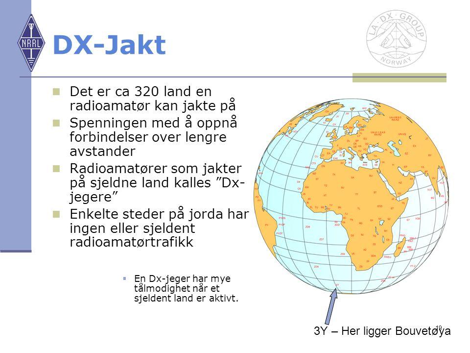19 DX-Jakt Det er ca 320 land en radioamatør kan jakte på Spenningen med å oppnå forbindelser over lengre avstander Radioamatører som jakter på sjeldn