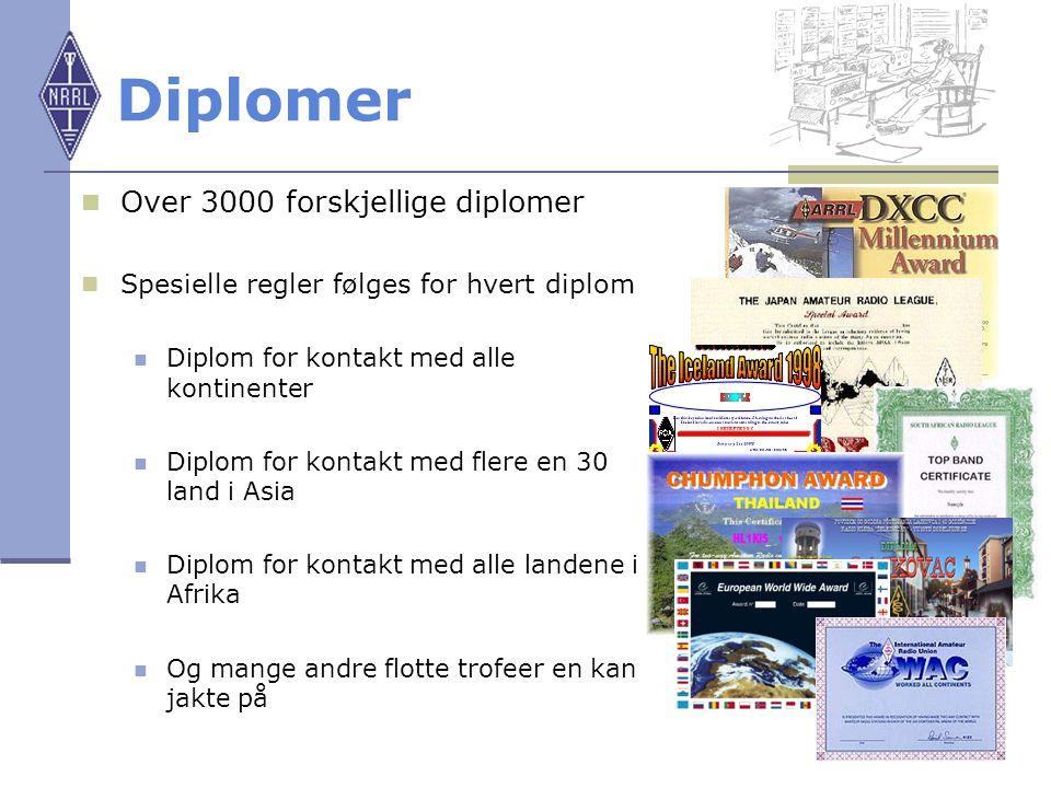 20 Diplomer Over 3000 forskjellige diplomer Spesielle regler følges for hvert diplom Diplom for kontakt med alle kontinenter Diplom for kontakt med fl