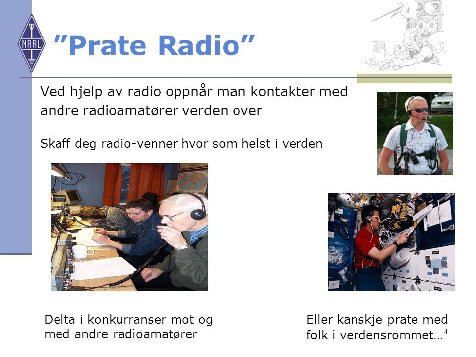"""4 """"Prate Radio"""" Ved hjelp av radio oppnår man kontakter med andre radioamatører verden over Skaff deg radio-venner hvor som helst i verden Delta i kon"""