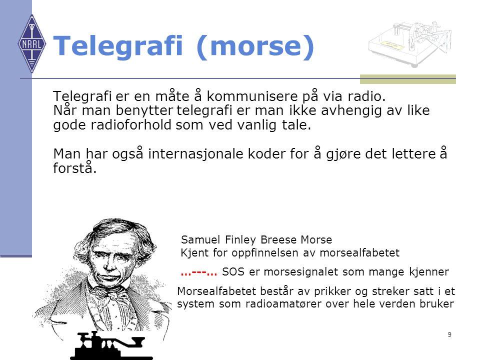 9 Telegrafi (morse) Telegrafi er en måte å kommunisere på via radio. Når man benytter telegrafi er man ikke avhengig av like gode radioforhold som ved