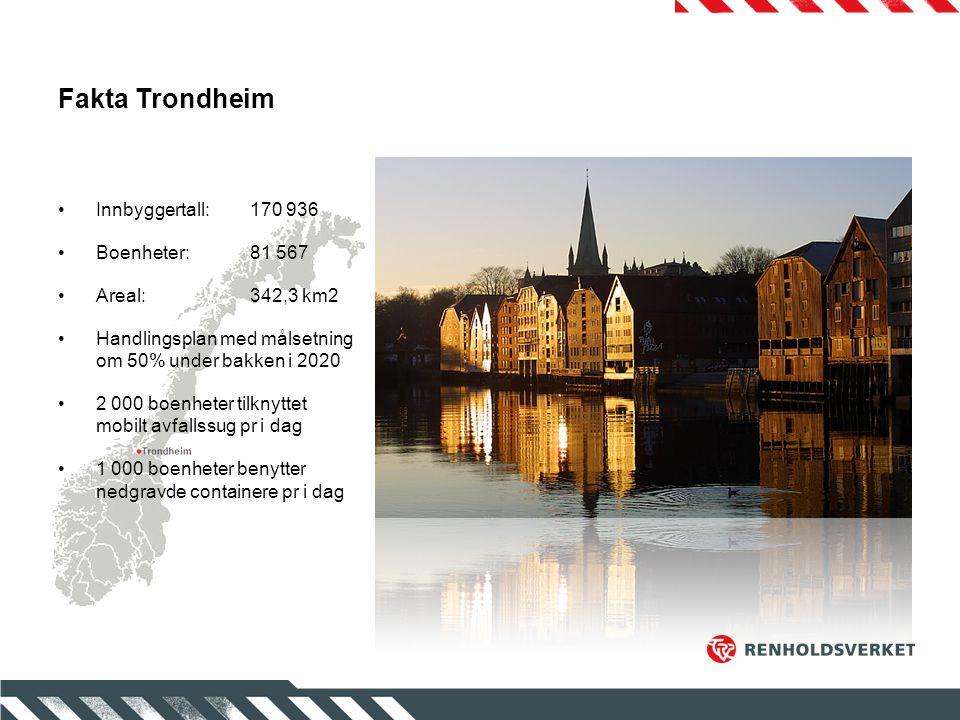 Fakta Trondheim Innbyggertall:170 936 Boenheter:81 567 Areal:342,3 km2 Handlingsplan med målsetning om 50% under bakken i 2020 2 000 boenheter tilknyt