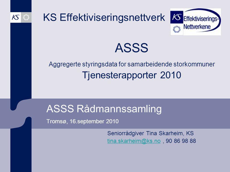 ASSS Rådmannssamling Tromsø, 16.september 2010 KS Effektiviseringsnettverk Seniorrådgiver Tina Skarheim, KS tina.skarheim@ks.notina.skarheim@ks.no, 90