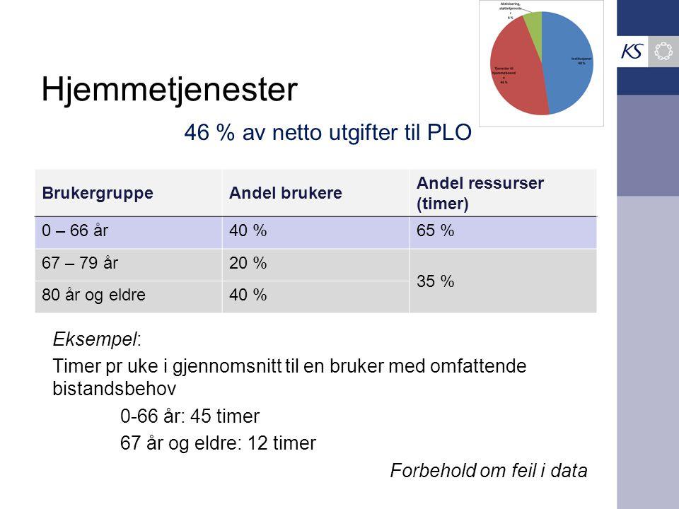 Hjemmetjenester BrukergruppeAndel brukere Andel ressurser (timer) 0 – 66 år40 %65 % 67 – 79 år20 % 35 % 80 år og eldre40 % 46 % av netto utgifter til
