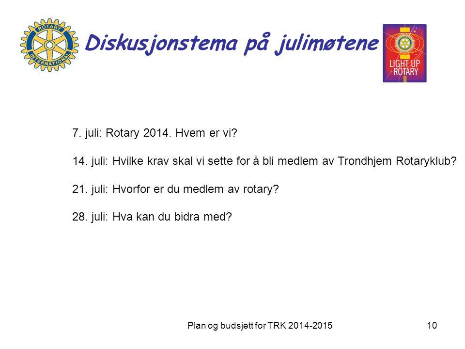 Diskusjonstema på julimøtene Plan og budsjett for TRK 2014-201510 7. juli: Rotary 2014. Hvem er vi? 14. juli: Hvilke krav skal vi sette for å bli medl