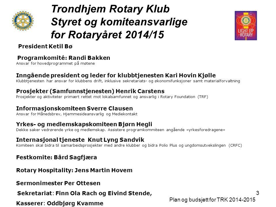 Trondhjem Rotary Klub Styret og komiteansvarlige for Rotaryåret 2014/15 Plan og budsjett for TRK 2014-2015 3 President Ketil Bø Programkomité: Randi B
