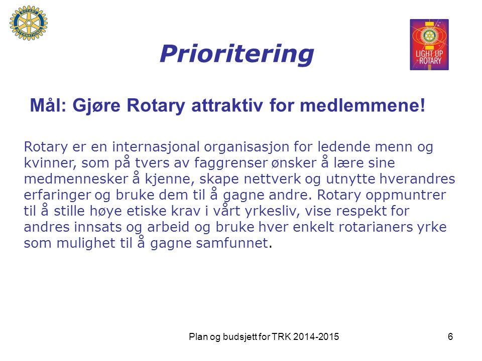 Prioritering Mål: Gjøre Rotary attraktiv for medlemmene! Rotary er en internasjonal organisasjon for ledende menn og kvinner, som på tvers av faggrens