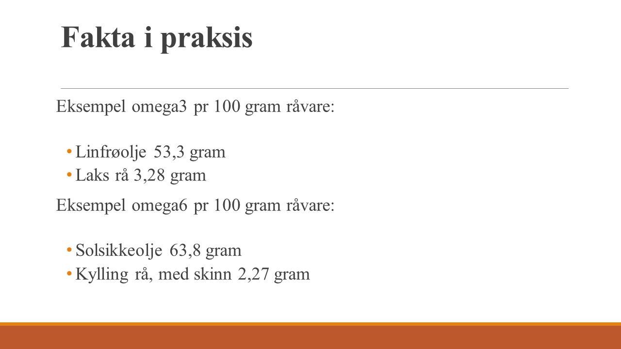 Fakta i praksis Eksempel omega3 pr 100 gram råvare: Linfrøolje 53,3 gram Laks rå 3,28 gram Eksempel omega6 pr 100 gram råvare: Solsikkeolje 63,8 gram Kylling rå, med skinn 2,27 gram