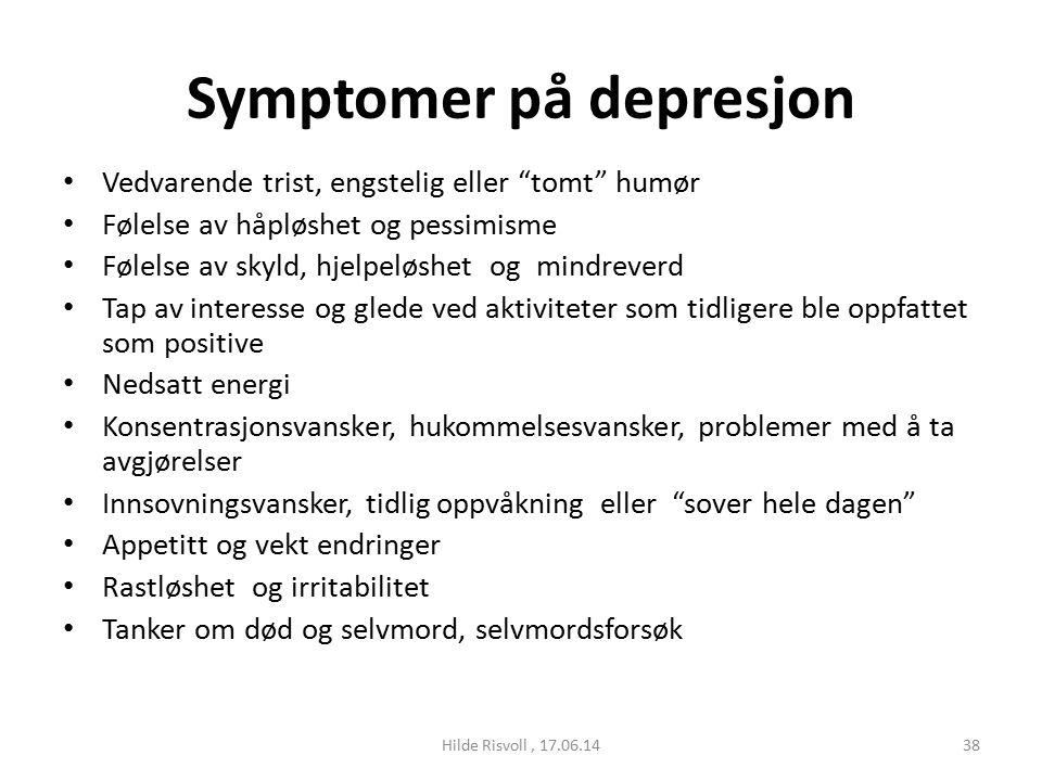tegn på depresjon og angst
