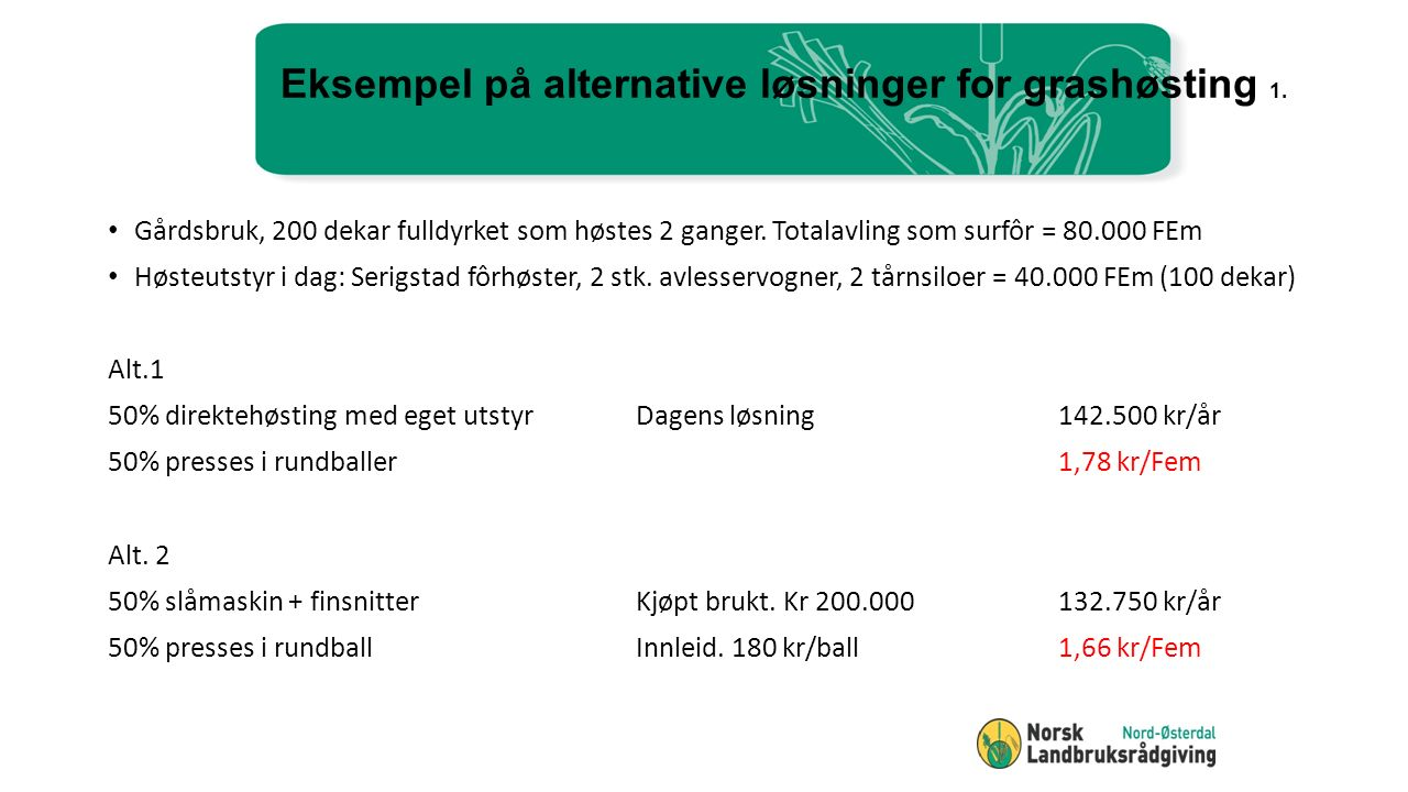 Eksempel på alternative løsninger for grashøsting 1.