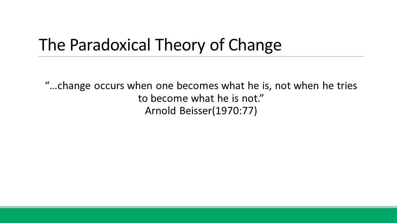 The Paradoxical Theory of Change …change occurs when one becomes what he is, not when he tries to become what he is not. Arnold Beisser(1970:77)