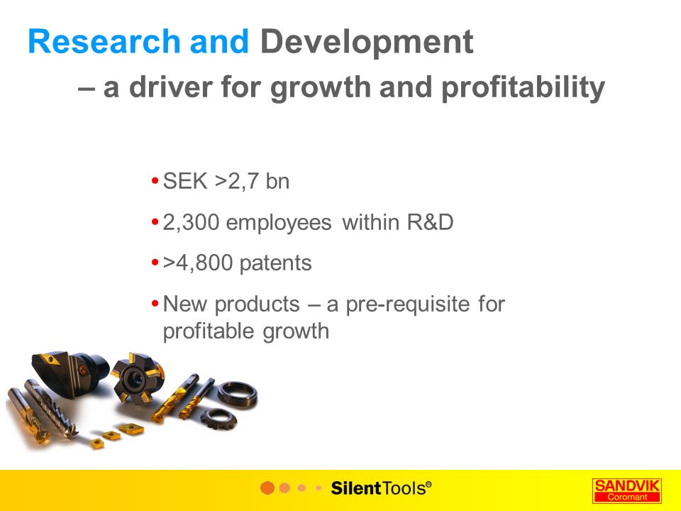 Research and Development – a driver for growth and profitability  SEK >2,7 bn  2,300 employees within R&D  >4,800 patents  New products – a pre-requisite for profitable growth