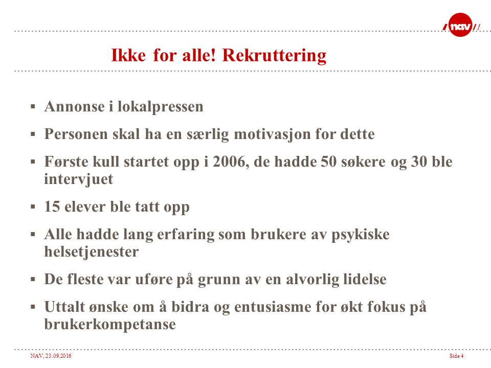 NAV, Side 4 Ikke for alle.