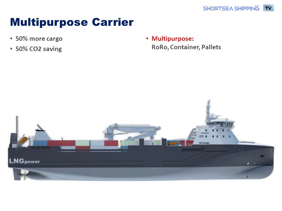 • 50% more cargo • 50% CO2 saving • Multipurpose: RoRo, Container, Pallets Multipurpose Carrier
