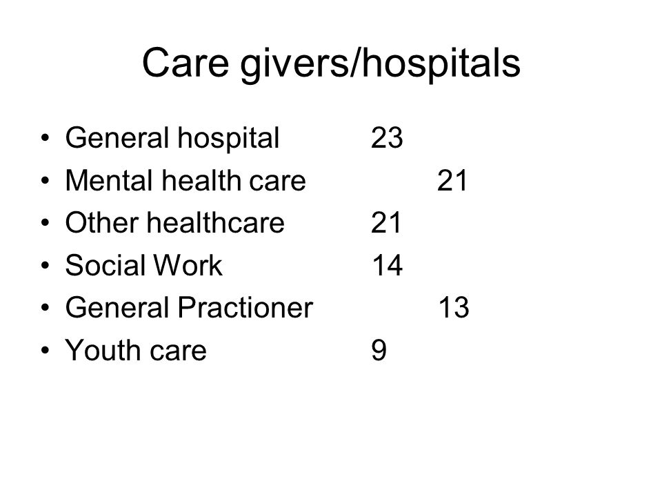 Care givers/hospitals •General hospital23 •Mental health care21 •Other healthcare21 •Social Work14 •General Practioner13 •Youth care9