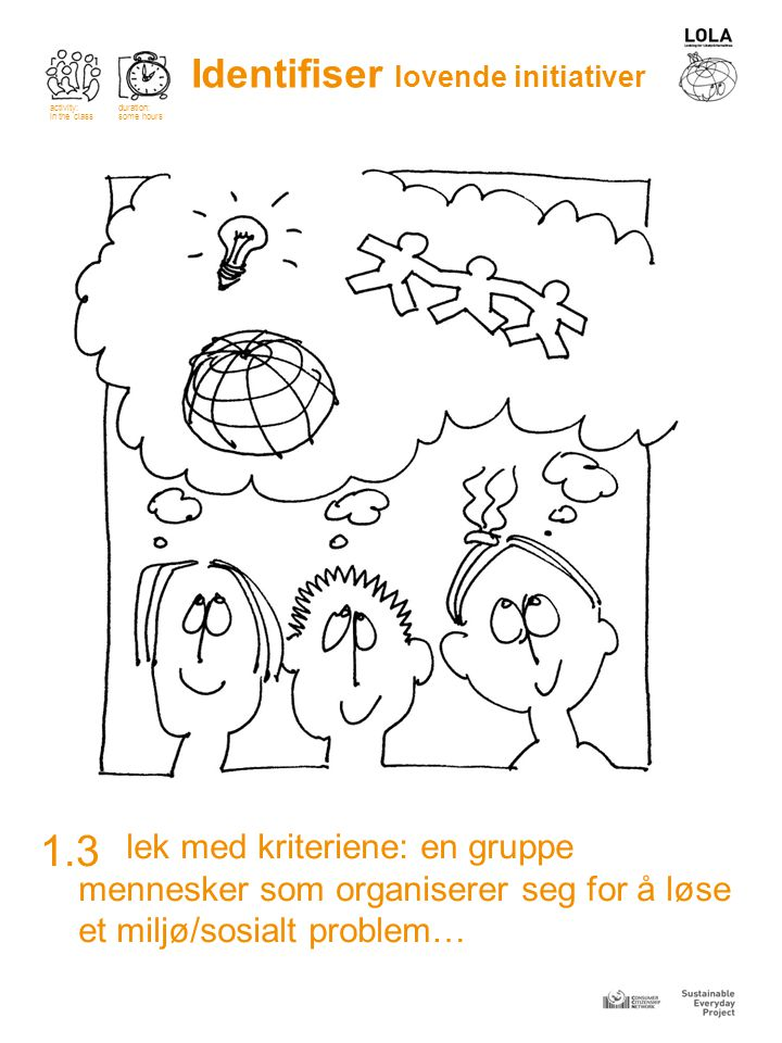 lek med kriteriene: en gruppe mennesker som organiserer seg for å løse et miljø/sosialt problem… 1.3 Identifiser lovende initiativer activity: in the class duration: some hours