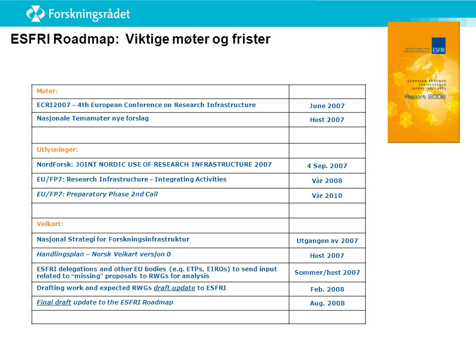 M ø ter: ECRI2007 – 4th European Conference on Research Infrastructure June 2007 Nasjonale Temam ø ter nye forslag H ø st 2007 Utlysninger: NordForsk: JOINT NORDIC USE OF RESEARCH INFRASTRUCTURE Sep.