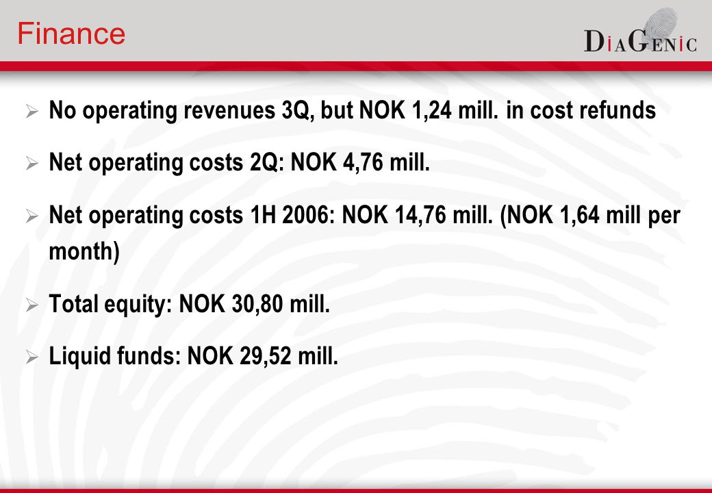 Finance  No operating revenues 3Q, but NOK 1,24 mill.