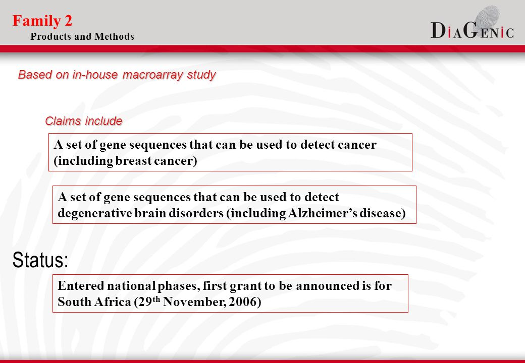 Family 2 Products and Methods A set of gene sequences that can be used to detect cancer (including breast cancer) A set of gene sequences that can be used to detect degenerative brain disorders (including Alzheimer's disease) Entered national phases, first grant to be announced is for South Africa (29 th November, 2006) Status: Based on in-house macroarray study Claims include